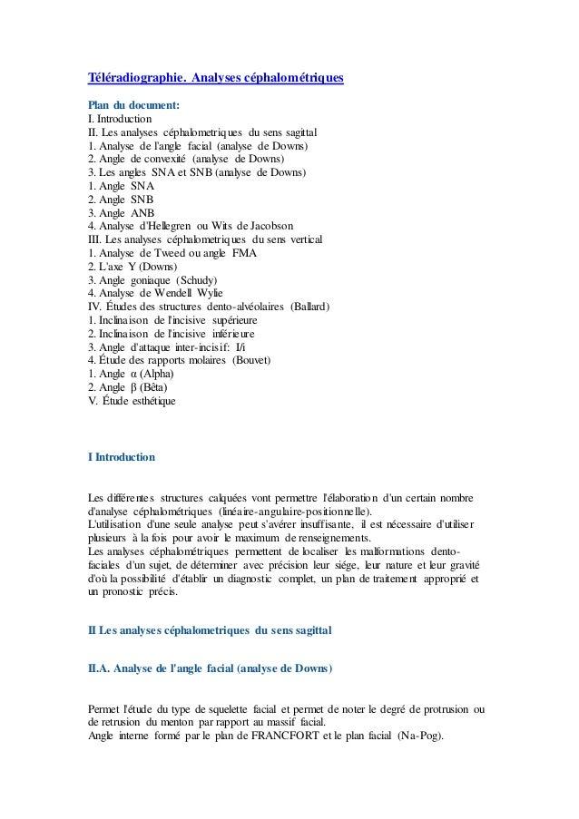 Téléradiographie. Analyses céphalométriques Plan du document: I. Introduction II. Les analyses céphalometriques du sens sa...