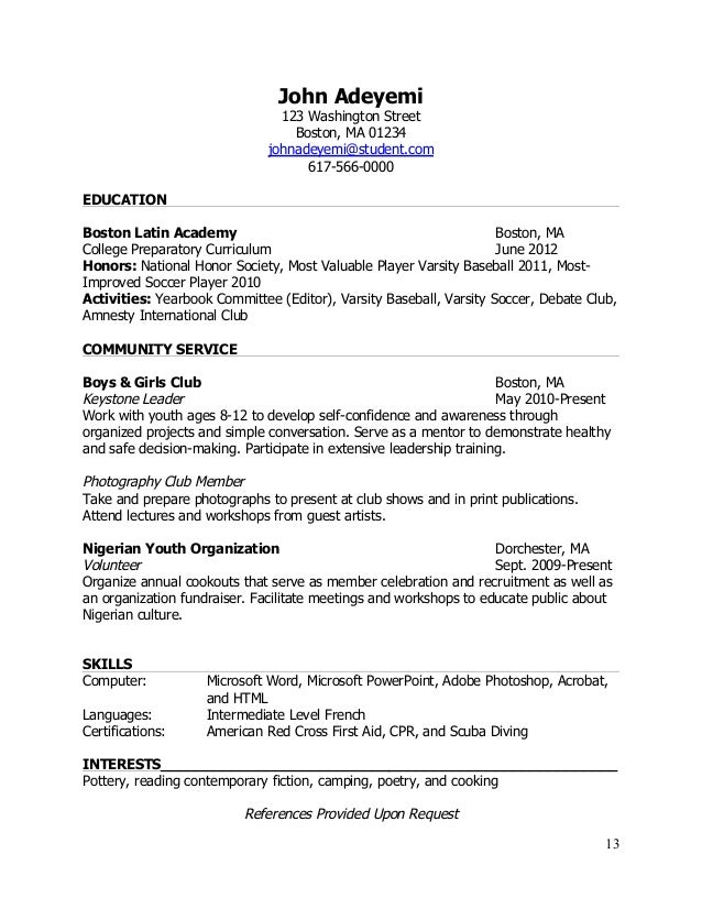 What should a resume look like for a highschool student
