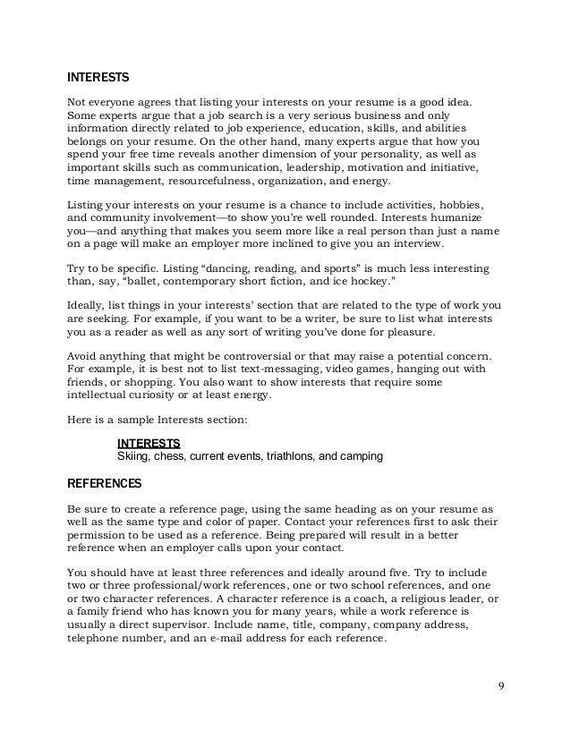 resume tips resume components activities interestsshould you include