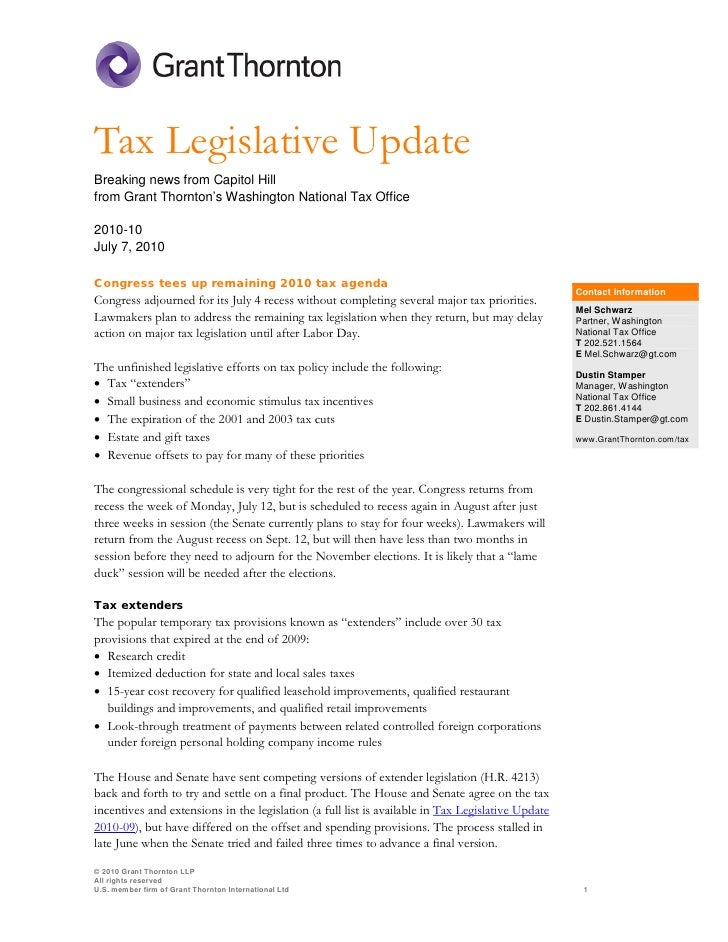Tax Legislative Update Breaking news from Capitol Hill from Grant Thornton's Washington National Tax Office  2010-10 July ...