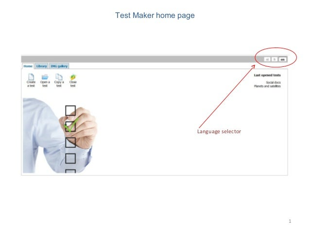 1Test Maker home pageLanguage selector