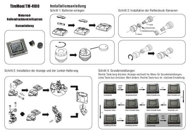 TireMoni TM-4100 Motorrad- Reifendruckkontrollsystem Kurzanleitung Installationsanleitung Schritt 1: Batterien einlegen Sc...