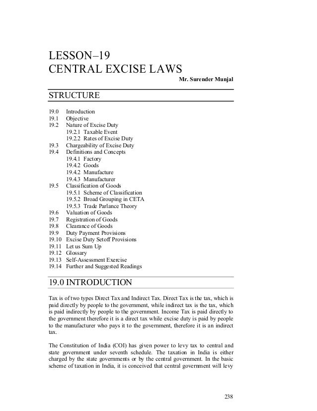 LESSON–19CENTRAL EXCISE LAWS                                                        Mr. Surender MunjalSTRUCTURE19.0    In...