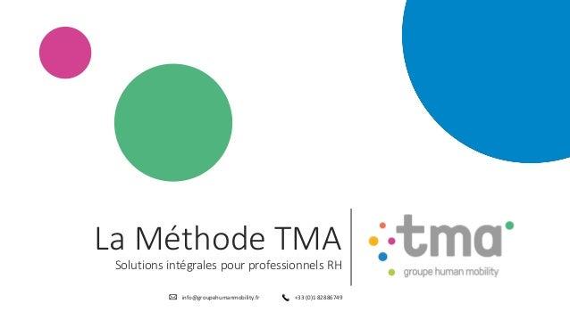info@groupehumanmobility.fr +33 (0)1 82886749 La Méthode TMA Solutions intégrales pour professionnels RH