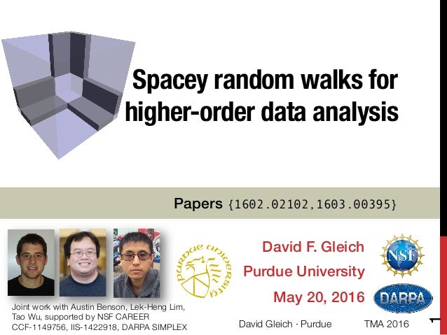 Spacey random walks for ! higher-order data analysis David F. Gleich! Purdue University! May 20, 2016! Joint work with Aus...