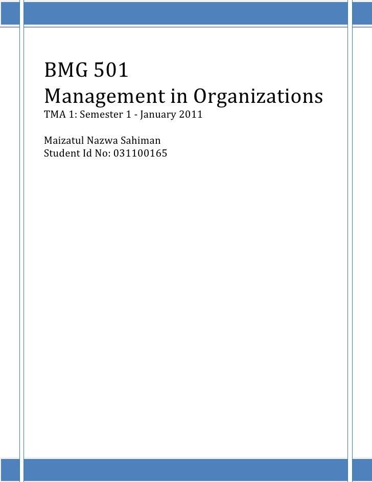 BMG 501Management in OrganizationsTMA 1: Semester 1 - January 2011Maizatul Nazwa SahimanStudent Id No: 031100165