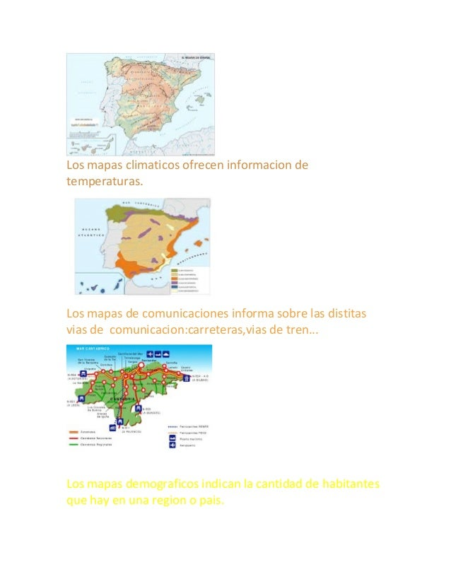 Los mapas climaticos ofrecen informacion de temperaturas. Los mapas de comunicaciones informa sobre las distitas vias de c...