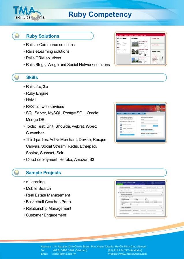 Ruby Competency   Ruby Solutions •Rails e-Commerce solutions •Rails eLearning solutions •Rails CRM solutions •Rails Bl...