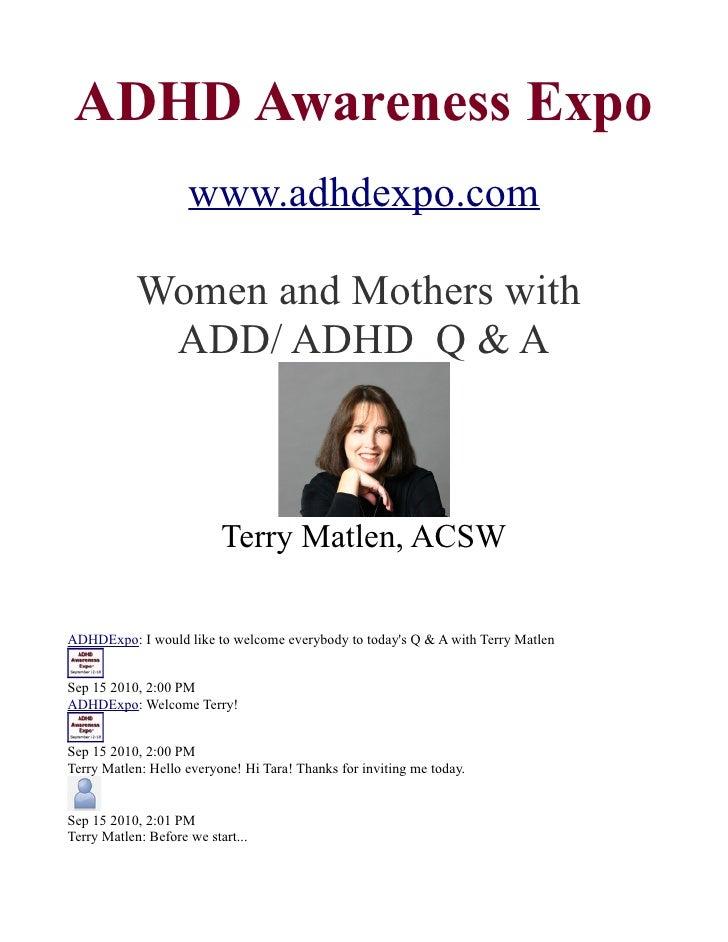 ADD / ADHD Q & A with Terry Matlen