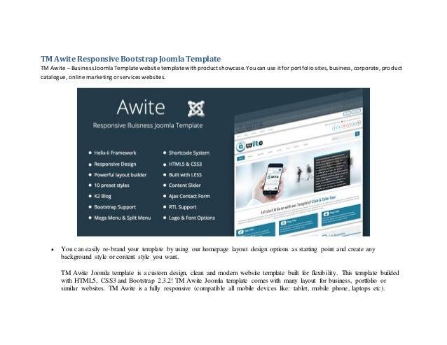 Tm Awite Responsive Bootstrap Joomla Template