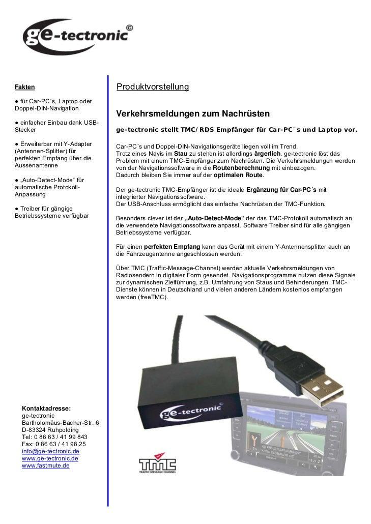 Fakten                         Produktvorstellung● für Car-PC´s, Laptop oderDoppel-DIN-Navigation                         ...