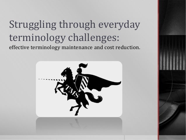 Struggling through everydayterminology challenges:effective terminology maintenance and cost reduction.