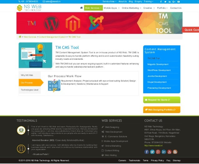  > Web Services > Content Management System > TM CMS Tool TM CMS Tool TM Content Management System Tool is an in-house pr...