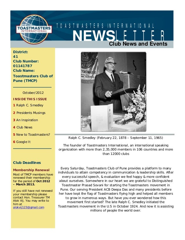TOASTMASTERS INTERNATIONAL                                         NEWSLETTER              Club News and EventsDistrict:41...