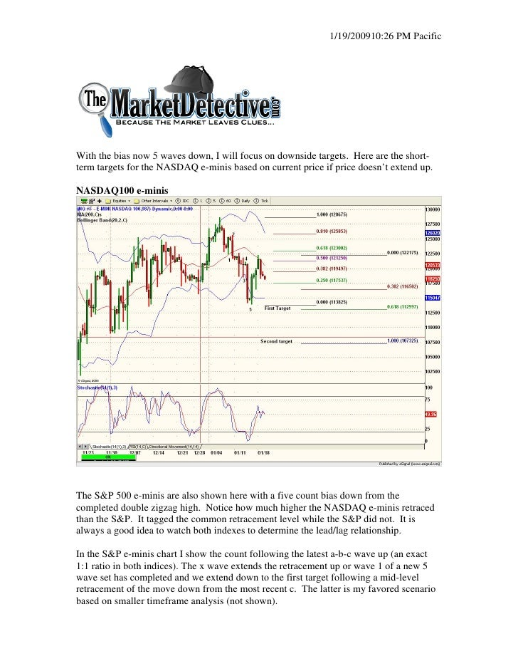 1/19/200910:26 PM Pacific     With the bias now 5 waves down, I will focus on downside targets. Here are the short- term t...