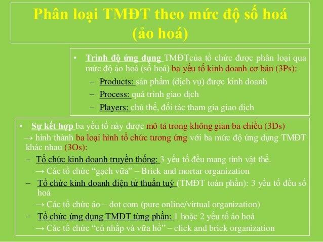 Phân loại TMĐT theo mức độ số hoá (ảo hoá) • Trình độ ứng dụng TMĐTcủa tổ chức được phân loại qua mức độ ảo hoá (số hoá) b...