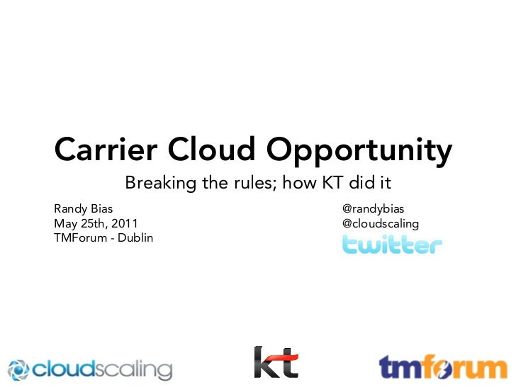 Carrier Cloud Opportunity           Breaking the rules; how KT did itRandy Bias                            @randybiasMay 2...