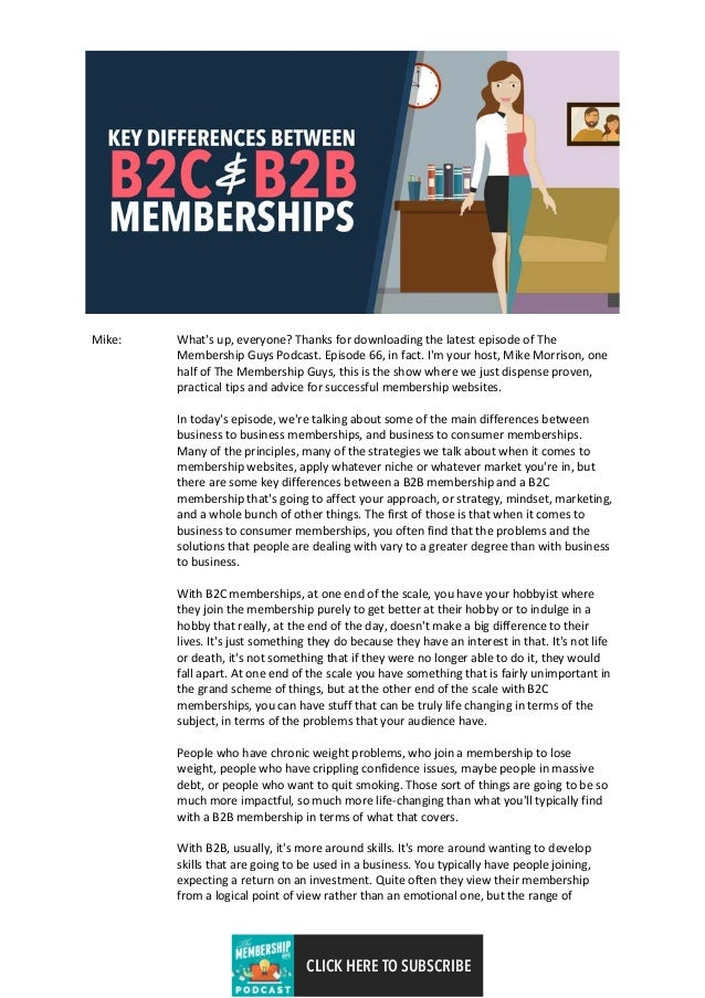 Differences between the b2b and b2c