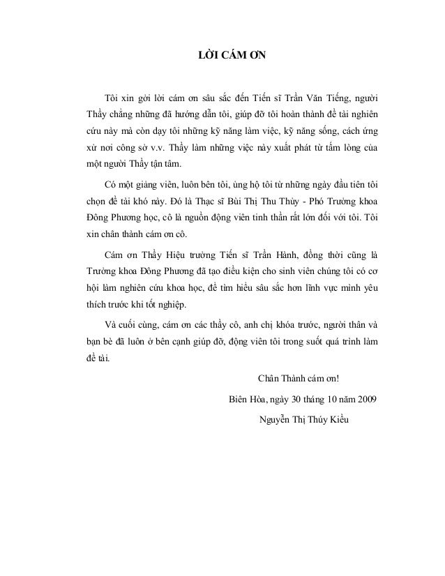 LỜI CÁM ƠN Tôi xin gởi lời cám ơn sâu sắc đến Tiến sĩ Trần Văn Tiếng, người Thầy chẳng những đã hướng dẫn tôi, giúp đỡ tôi...