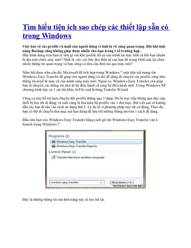 Tìm hiểu tiện ích sao chép các thiết lập sẵn có trong windows