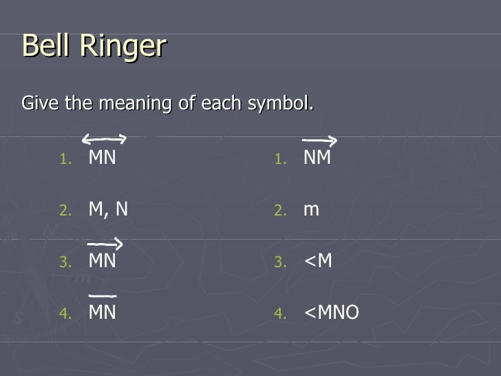 Bell Ringer <ul><li>Give the meaning of each symbol. </li></ul><ul><li>NM </li></ul><ul><li>m </li></ul><ul><li><M </li></...