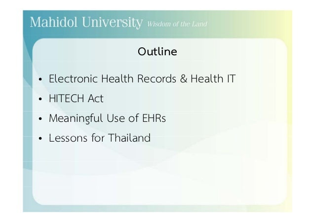 Electronic Health Records: What Does The HITECH Act Teach ...