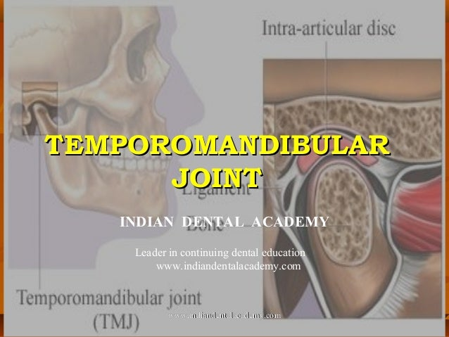 TEMPOROMANDIBULARTEMPOROMANDIBULAR JOINTJOINT INDIAN DENTAL ACADEMY Leader in continuing dental education www.indiandental...