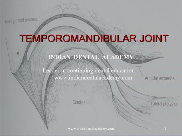 1 TEMPOROMANDIBULAR JOINTTEMPOROMANDIBULAR JOINT INDIAN DENTAL ACADEMY Leader in continuing dental education www.indianden...