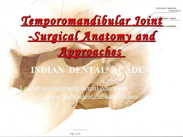 Temporomandibular Joint -Surgical Anatomy and Approaches INDIAN DENTAL ACADEMY Leader in continuing dental education www.i...
