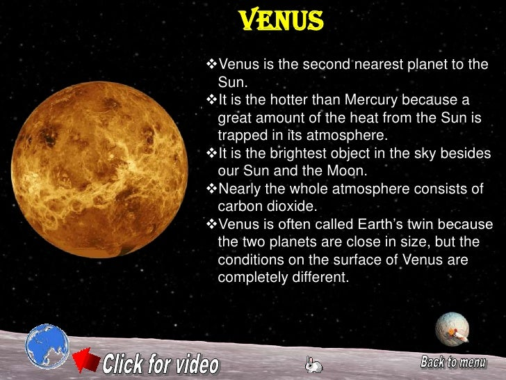 a description of planet venus The planet venus is the second planet from the sun and the hottest in our solar  system it's a dry world whose water has all evaporated due to rampant climate.