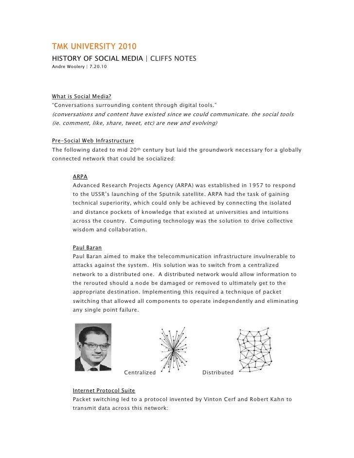TMK UNIVERSITY 2010<br />HISTORY OF SOCIAL MEDIA   CLIFFS NOTES<br />Andre Woolery   7.20.10<br />What is Social Media?<br...