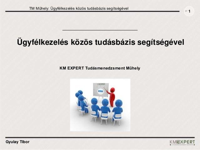 TM Műhely: Ügyfélkezelés közös tudásbázis segítségével Gyulay Tibor Ügyfélkezelés közös tudásbázis segítségével 1 KM EXPER...