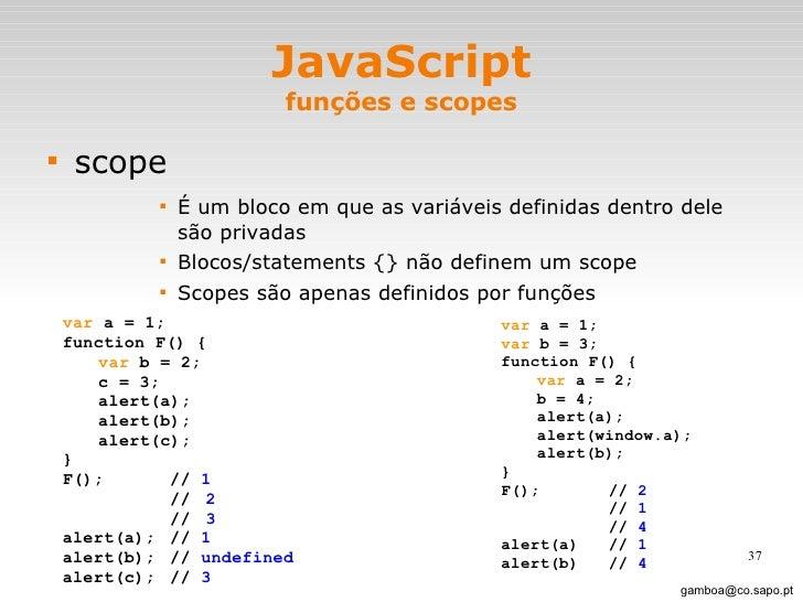 JavaScript funções e scopes <ul><li>scope </li></ul><ul><ul><ul><ul><li>É um bloco em que as variáveis definidas dentro de...
