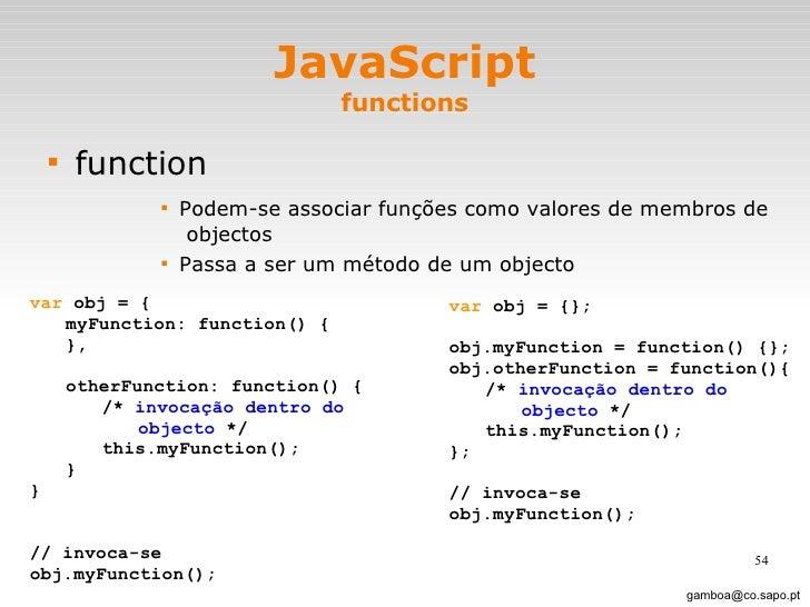JavaScript functions <ul><li>function </li></ul><ul><ul><ul><ul><li>Podem-se associar funções como valores de membros de  ...