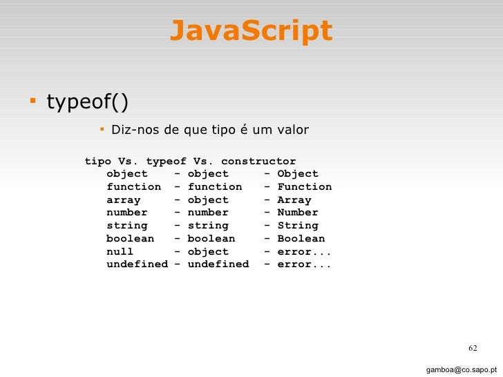 JavaScript <ul><li>typeof() </li></ul><ul><ul><ul><ul><li>Diz-nos de que tipo é um valor </li></ul></ul></ul></ul>[email_a...