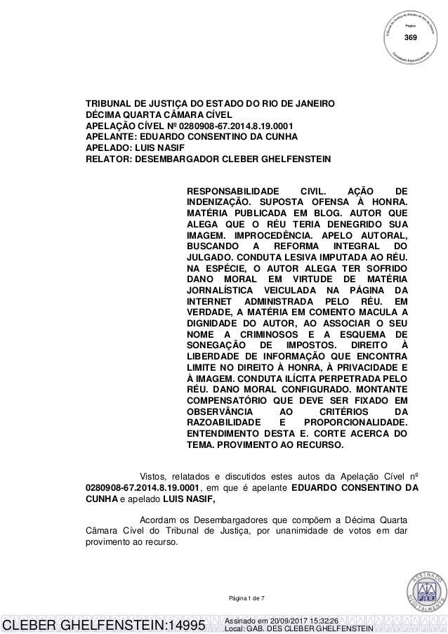 Página 1 de 7 TRIBUNAL DE JUSTIÇA DO ESTADO DO RIO DE JANEIRO DÉCIMA QUARTA CÂMARA CÍVEL APELAÇÃO CÍVEL Nº 0280908-67.2014...