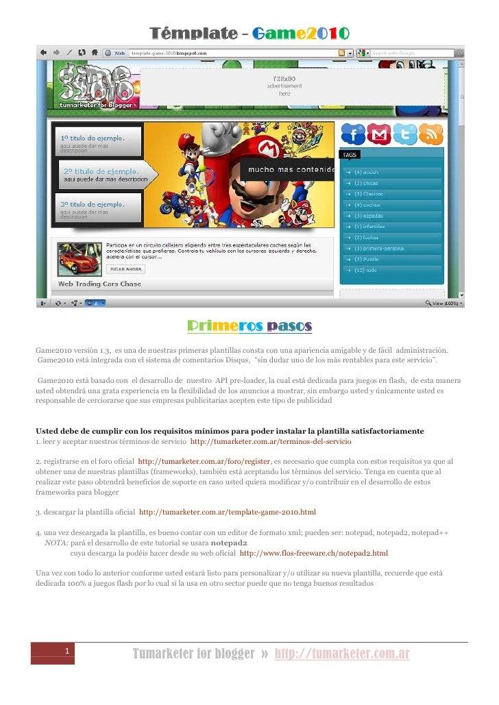 Témplate Game2010 Documentación