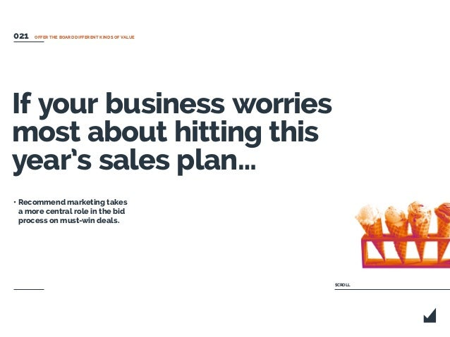If your business worries most about hitting this year's sales plan… • Recommend marketing takes a more central role in the...