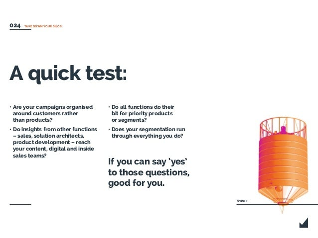 A quick test: • Are your campaigns organised around customers rather than products? • Do insights from other functions – s...