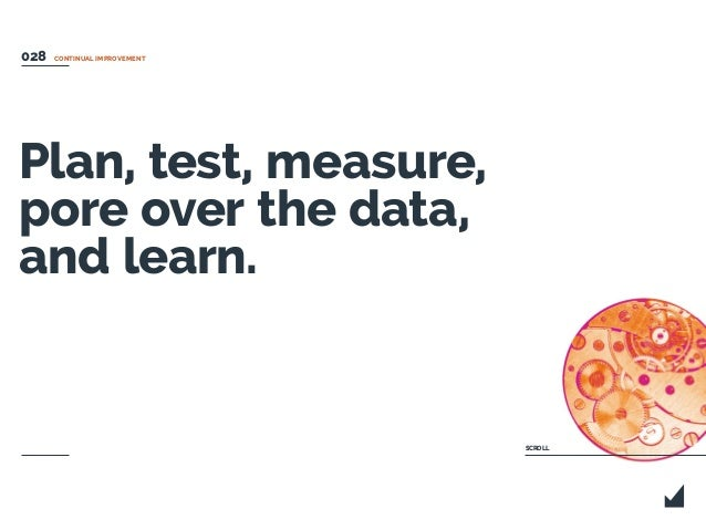 CONTINUAL IMPROVEMENT Plan, test, measure, pore over the data, and learn. SCROLL 028
