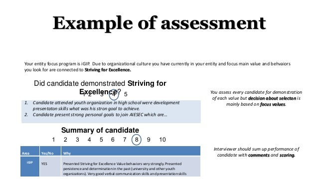 Example of assessment Did candidate demonstrated Striving for Excellence? 1. Candidate attended youth organization in high...
