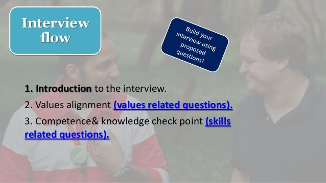 Interview flow 1. Introduction to the interview. 2. Values alignment (values related questions). 3. Competence& knowledge ...