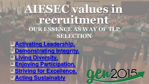 AIESEC values in recruitment OUR ESSENCE AS WAY OF TLP SELECTION Activating Leadership, Demonstrating Integrity, Living...