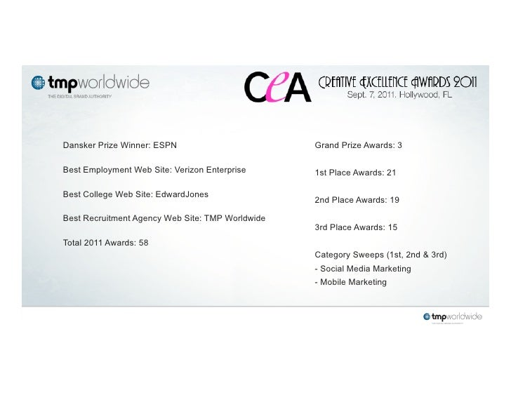 Dansker Prize Winner: ESPN                        Grand Prize Awards: 3Best Employment Web Site: Verizon Enterprise      1...