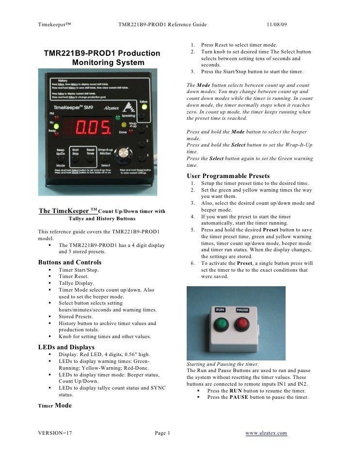 Timekeeper™                     TMR221B9-PROD1 Reference Guide                             11/08/09                       ...