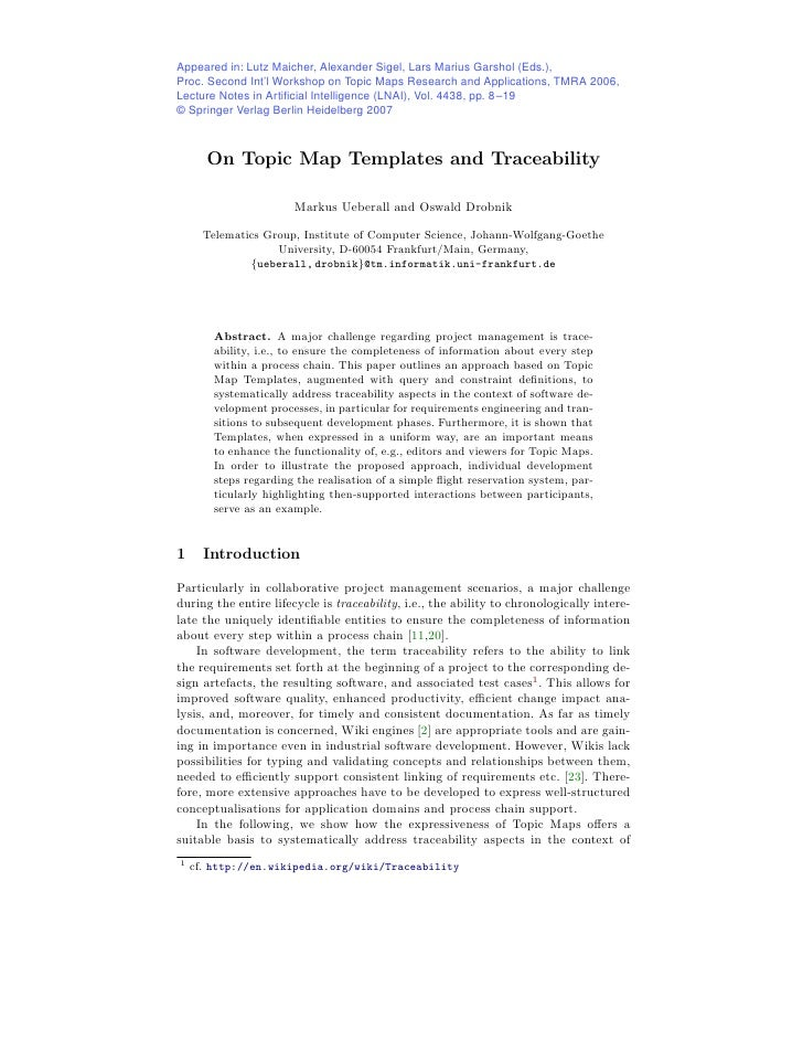 On Topic Map Templates and Traceability