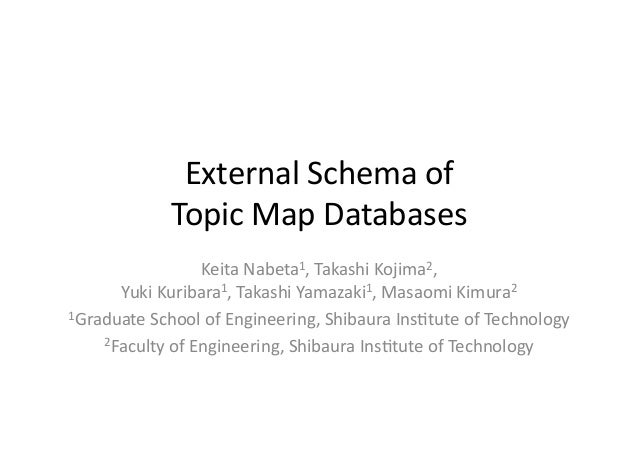 External	   Schema	   of	   	    Topic	   Map	   Databases	 Keita	   Nabeta1,	   Takashi	   Kojima2,	   	    Yuki	   Kurib...