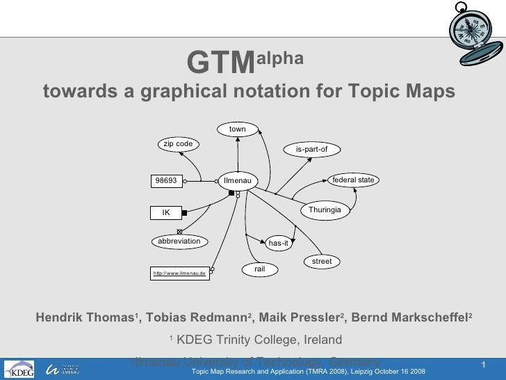 GTM alpha   towards a graphical notation for Topic Maps Hendrik Thomas 1 , Tobias Redmann 2 , Maik Pressler 2 , Bernd Mark...
