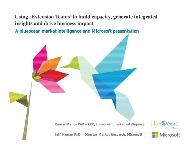 Using 'Extension Teams' to build capacity, generate integrated insights and drive business impact A blueocean market intel...