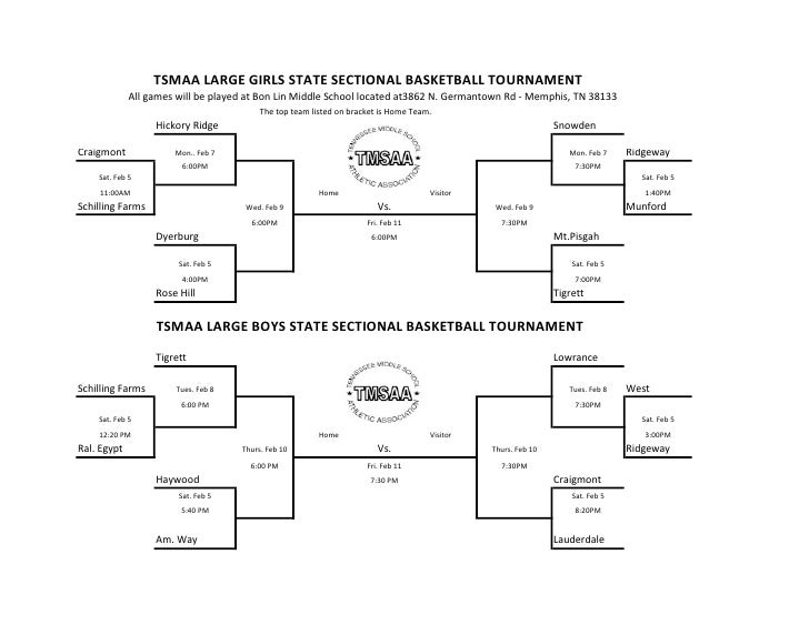TSMAA LARGE GIRLS STATE SECTIONAL BASKETBALL TOURNAMENT             All games will be played at Bon Lin Middle School loca...